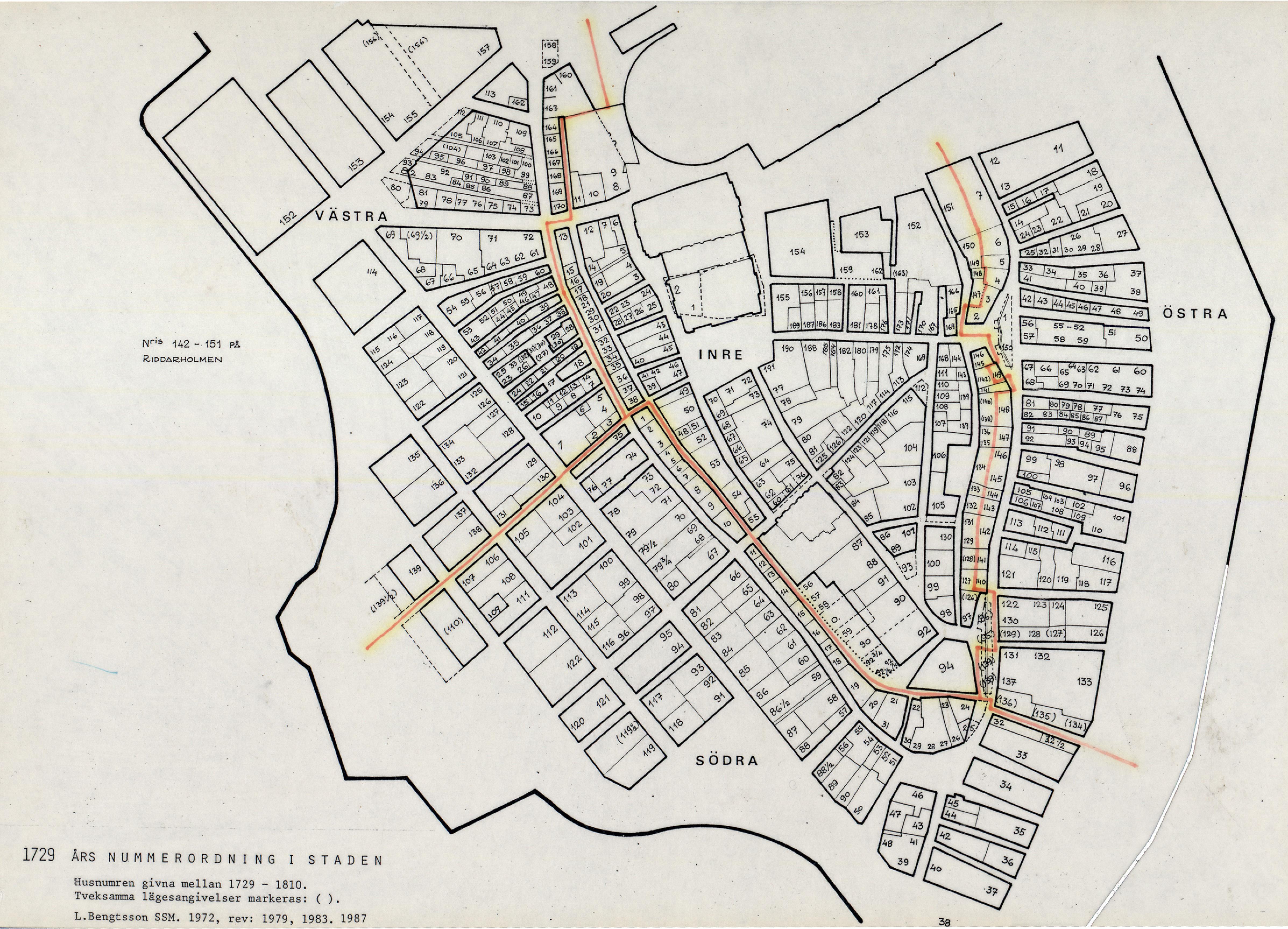 stockholm gamla stan karta Karta över Gamla stan 1729 års tomtnummer   Stockholmskällan stockholm gamla stan karta