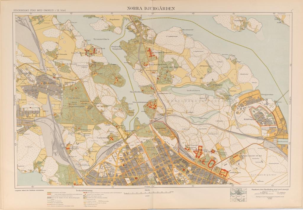 Karta Norra Djurgarden Fran 1917 1921 Stockholmskallan