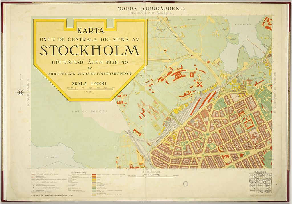 1938 1940 Ars Karta Over Stockholm 6 Blad Stockholmskallan