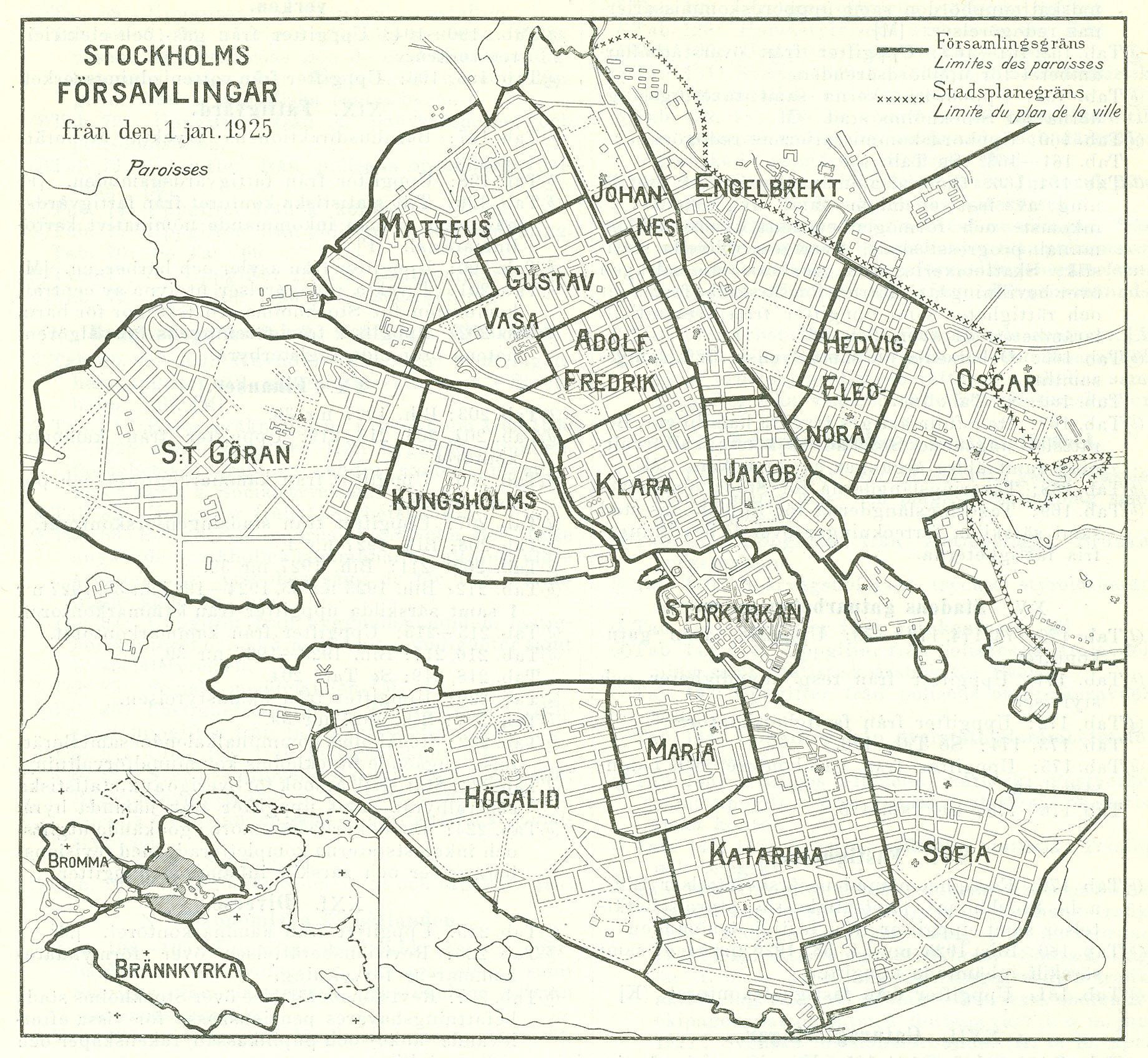 Karta Over Stockholms Forsamlingar 1925 Stockholmskallan