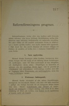 Reformföreningens program 1880
