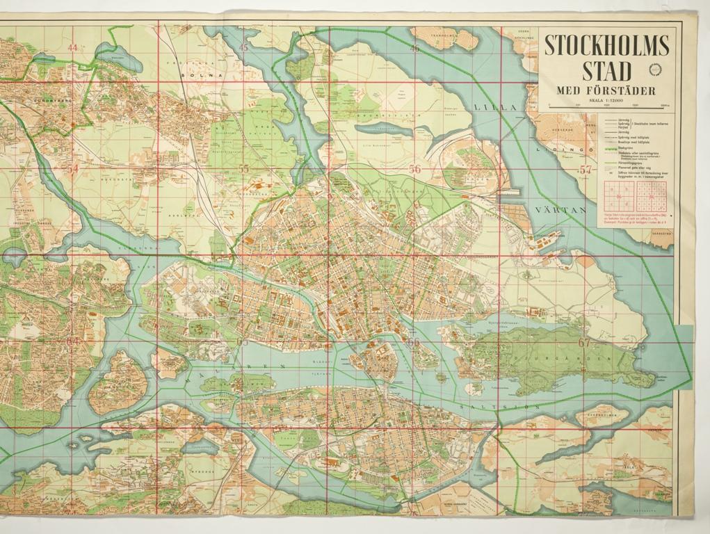 1944 Ars Karta Stockholms Stad Med Forstader Utsnitt B