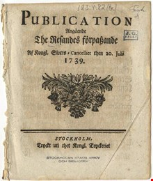 Publication angående the resandes förpassande 1739